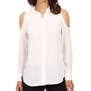 Equipment silk open shoulder white blouse size M